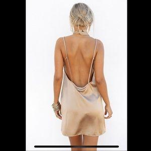 Sabo Skirt Silky Slip Dress Gold Small